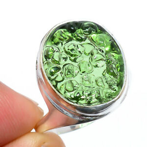 Moldavite Gemstone 925 Silver Handmade Jewelry Ring s.10 W2477