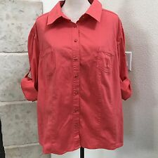 COMO Woman Stretch Button Front Blouse size 3X Coral 3/4 Sleeve