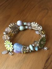 Ikita Stretch Bracelet Beads Silver Tone Pastel Beads Green Flower