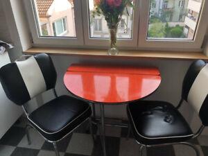 klappbarer retro tisch 50er/60er jahre küchentisch orange rundes liebhaberstück