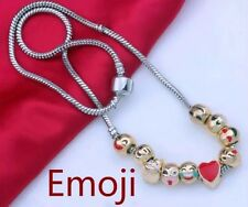 Emoji Bracelet Pendant Necklace Chain Charm 10 Beaded 18k Gold Women Jewelry