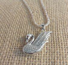 Swarkovski Swan Pendant And Chain - Silver