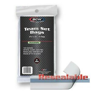 LOT (7 pk x 100) BCW Team Set Bags (700 total sleeves) 1-RTSB