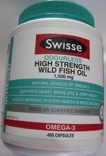 Swisse Ultiboost ODOURLESS HIGH STRENGTH WILD FISH OIL 1500mg 400 Capsules
