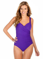 NWT New MIRACLESUIT Sanibel Underwire One Piece Tank Swimsuit Violet Purple 12