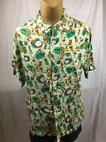 The Hawaiian Shirt By Rowdy Gentleman Large Tiki Coconut Rum Hula Girl Hawaii