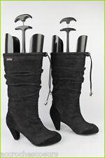 Stivali KILLDOLL Stoffa A strisce e Camoscio Nero T 36 ottima qualità