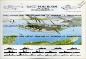 WWII Pearl Harbor Japanese Aircraft Attack Warship Stamp Sheet/1991 Sierra Leone