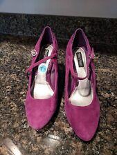 White House Black Market Purple Suede 4 inch heel 7.5  Mary Jane