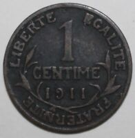 French 1 Centime Coin 1911 - KM# 840 - France Third Republic One