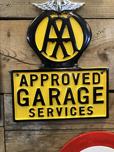 AA sign Automobile Association Cast Aluminium Polish garage breakdown sign