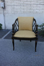 Regency Style Mahogany Hand Painted Side, End, Accent Armchair
