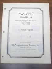 Vtg RCA Victor Service Manual for the D11-2 Radio-Phongraph~1935~Original