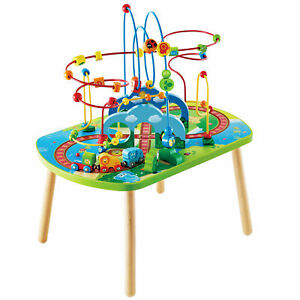 Hape Jungle Adventure Toddler Bead Maze & Wooden Railway Train Track Play Table