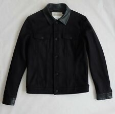 Calvin Klein Wolle & Leder Jacket Jeansjacken Schnitt Blouson Jacke schwarz Gr.M