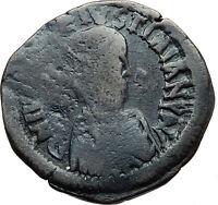 JUSTIN I & JUSTINIAN Rare 527AD Follis Authentic Ancient Byzantine Coin i44178