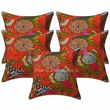 Indian Cotton Throw Pillow Covers Orange 16 Inch Kantha Tropicana Home Decor