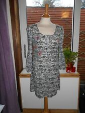 Laura Lees for Topshop Grey Squirrels Dress with Hearts Embroidery Small TieBelt