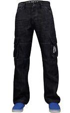 "Mens Enzo Cargo Combat Denim Fashion Jeans Sizes 28 to 50 Pants EZ 08 - Black 30"" 32"" Regular"