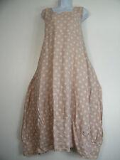 PLUS PLUS SIZE 100% LINEN SPOTTY LAGENLOOK DRESS WITH FRONT POCKETS SIZE 16-22