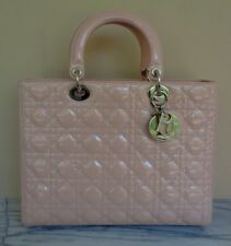 Christian Dior Large Lady Dior Cannage Pink Patent Leather Handbag Shoulder Bag