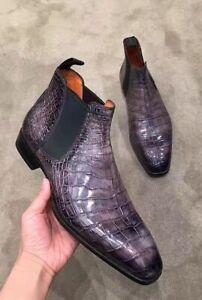 Bottines Chelsea décontractées en cuir violet pour hommes