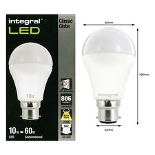 Integral LED 10 W = 60W Classique Globe (Gls) BC / B22 240v 2700 k blanc chaud