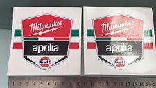 Milwaukee Aprilia Racing World Super Bike Team Decals Stickers (100mm x 88mm) X2