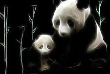 Incorniciato stampa-Neon Panda Orso con CUB riposa in bamboo (foto poster arte)
