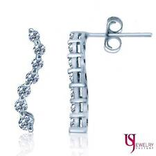 0.50 Carat Women's Graduated Diamond Journey Style Post Earrings 14k White Gold