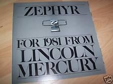 Catalogue / Brochure MERCURY Zephyr 1981 USA //