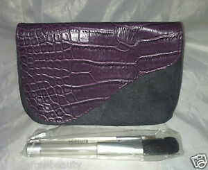 GLOSS Cosmetic Makeup Bag Purple/Gray Alligator/Suede Magnetic Clutch Brush Set