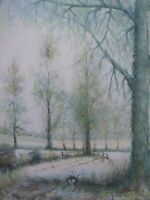 LARGE OIL ON CANVAS  WINTER WONDERLAND SIGNED  FREE SHIPPING TO ENGLAND