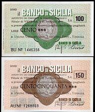 BANCO DI SICILIA 14/2/1977 UNIONE COMM.ESERCENTI PROV.di VENEZIA L.100+150 FDS