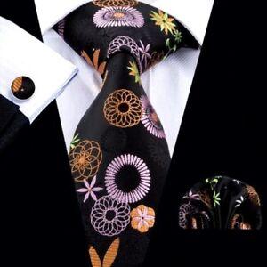 Black Pure Silk Men Neck Tie Cuff-links & Handkerchief Set Orange Purple Green