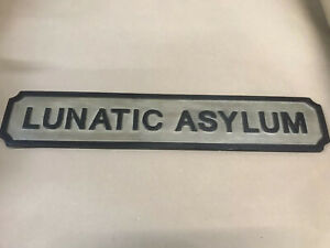 Lovely Very Rare Vintage Handmade Lunatic Asylum Wooden Sign
