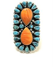 Native American Sterling Silver Navajo Spiny Oyster Turquoise Adjustable Ring7.5