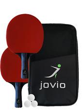 JOVIO Tischtennis-Set Ping Pong Set inkl. 2 Tischtennisschläger, 3 Bälle +Tasche