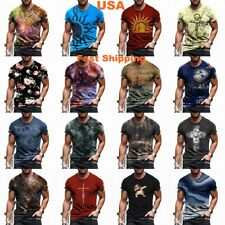 Mens T-Shirt Graphic Short Sleeve Fitness T Shirt Vintage Sports Wear Casual Tee