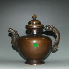 Rare  China  antique  brass  set  gemstone  Dragon pattern  Alcohol  pot