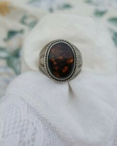 Antique Mens Signed Sterling Silver Fire Agate Ring Size 12 & 11 Grams