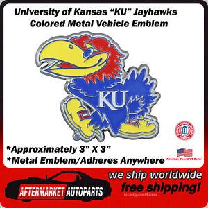 Kansas University KU Jayhawks Colored Metal Car Auto Emblem Decal Top Quality