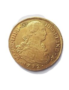 1792 8 ESCUDOS COLOMBIA GOLD (POPAYAN) GOLD COIN PCGS AU58 SUPER FAST SHIPPING