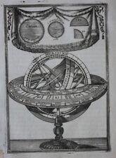 Original Antigua de impresión con esfera, Meridian, Zodiac, A.M. Mallet, 1683