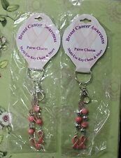 2-SET PINK RIBBON KEY CHAINS Breast Cancer Awareness Purse Charms Backpack NEW