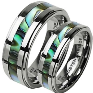 His and Hers Matching Abalone Shell Tungsten Wedding Couple Ring Sets- UK SELLER