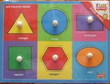 PUZZLE ~ NEW FUN FACTORY 6 PIECE WOODEN KNOB ~ SHAPES ~ LEARN SHAPES & COLOURS