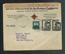 1938 Murcia Spain Civil War Censored AFSC  Cover to USA
