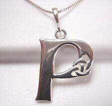 "Celtic Letter ""P"" 925 Sterling Silver Pendant Corona Sun Jewelry p"