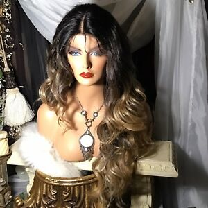 """Hot! 27"""" EXTENDED ROOTING, Ombre' Honey Blonde Lace Front With Middle PART, WIG!"""